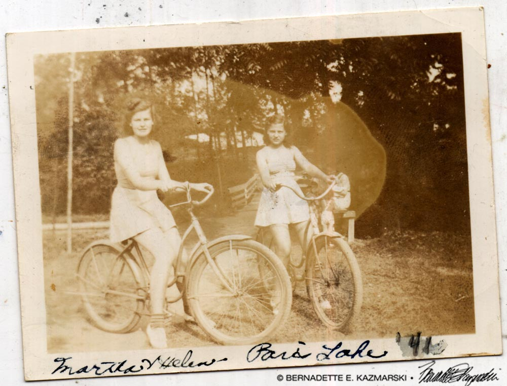 My mother and her friend Martha in the summer of 1941.