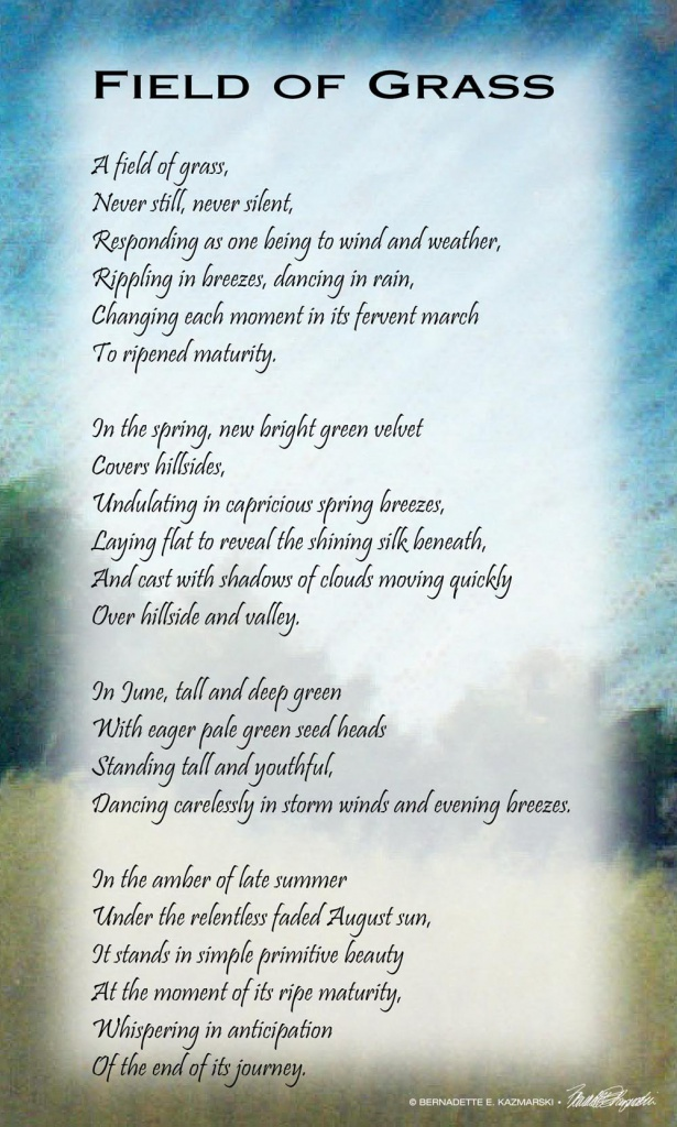 "Poem, ""Field of Grass"", and painting."