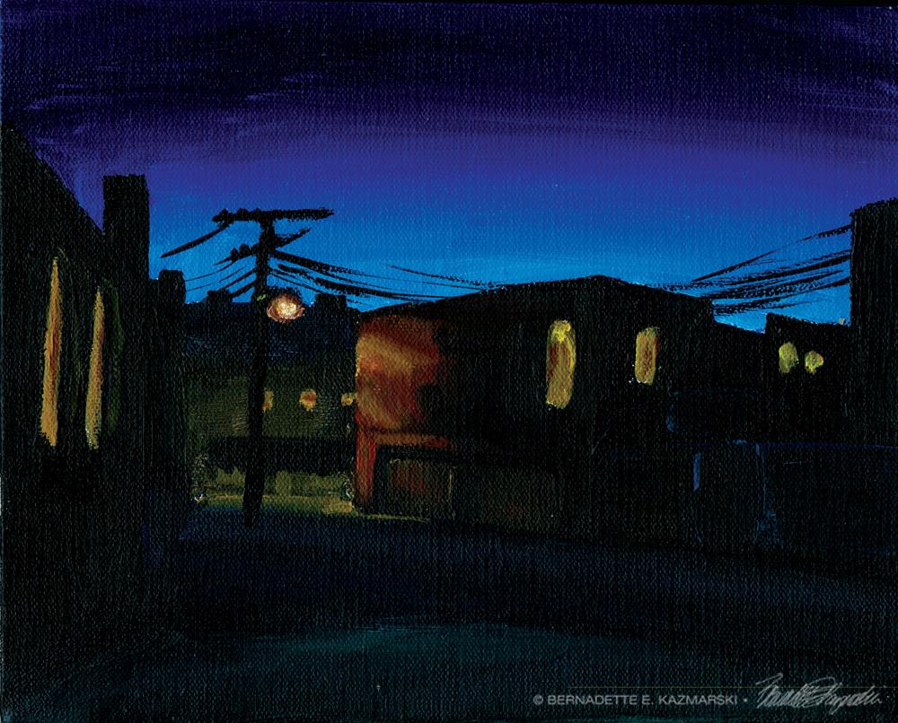 Alley in Dusk, 8 x 10, acrylic © Bernadette E. Kazmarski