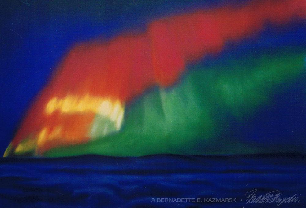 """""""Aurora Borealis"""", pastel, 18"""" x 12"""", 2000 © Bernadette E. Kazmarski"""