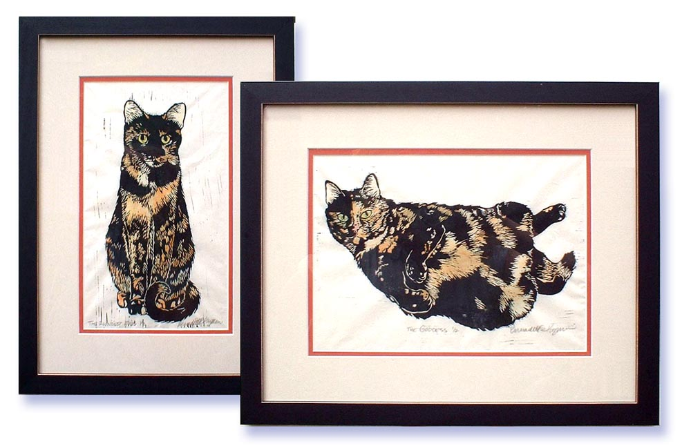 block prints of tortoiseshell cats