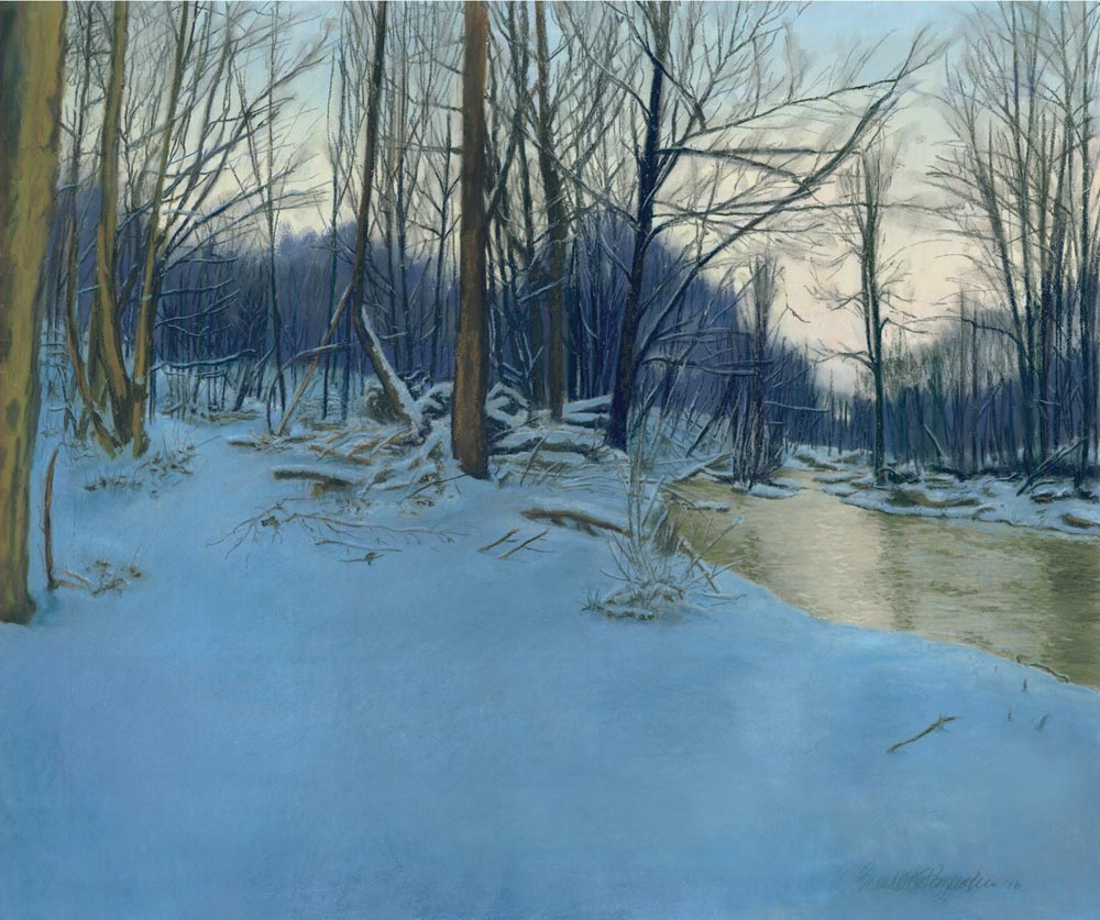 painting of woods in snow