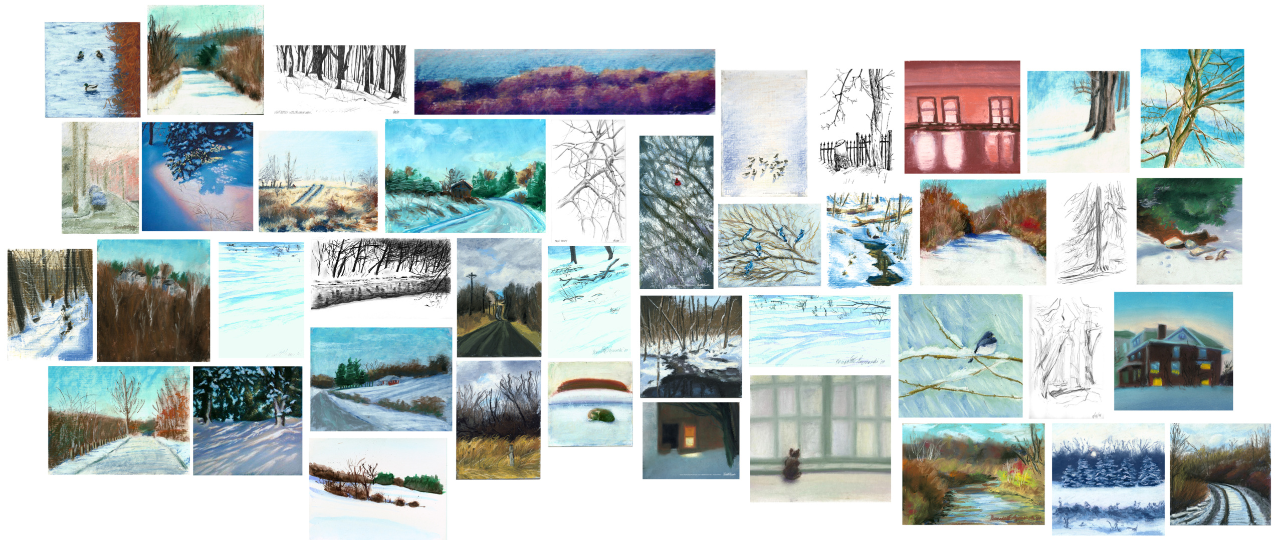 collage of winter paintings